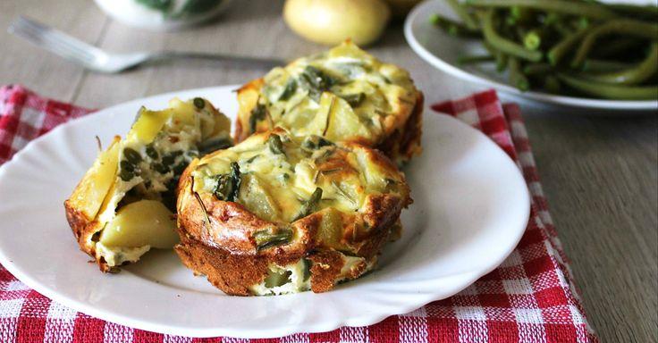 Pečené bramborové mini frittaty se zelenými fazolkami