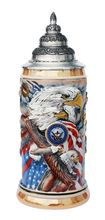 """This hand-painted relief beer stein features a medallion bearing the Department of the US Navy Emblem on the front.  American bald eagles soar amidst majestic stars & strips. The sides read """"Together We Stand"""", and """"United We Soar"""" on waving banners."""