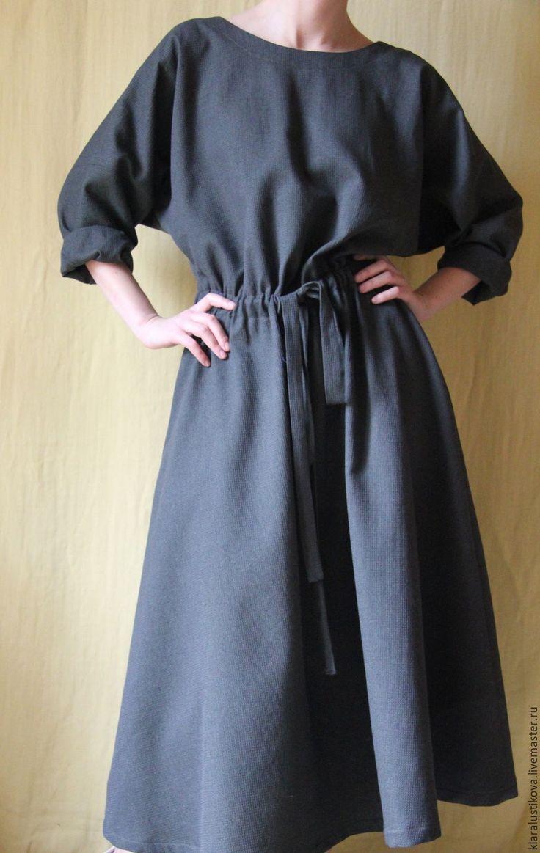 Купить Вещь № 137 - тёмно-зелёный, однотонный, Широкая юбка, длинное платье, карманы