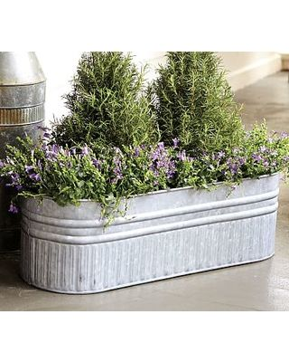 Eclectic Galvanized Metal Planter Box From Pottery Barn Bhg Com