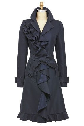 Kate Spade trench.: Cute Coats, Girls Sherlock, Peas Coats, Ruffles Trench, Spade Trench, Ruffles Coats, Trench Coats, Kate Spade, Ruffles Peacoats