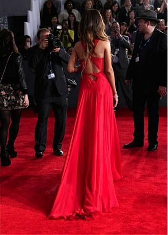 Rihanna Silk-like Chiffon A-line Prom Dress Grammys 2013 Red Carpet Gown