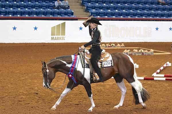 John Simon w/Erin Bradshaw aboard is World Champion Senior Western Pleasure horse for the fourth year in a row