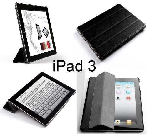 Invision® New iPad 3 & iPad 4 (with Retina Display) Case - Front & Back Protection Smart Cover With Magnetic Auto Wake & Sleep Function - Full Grade Leather (PU) with Smooth Satin Inner Cloth - Premium Quality with Superior Design Features - Number One Brand for Compatible Cases & Covers (BLACK) by Invision®, http://www.amazon.co.uk/dp/B007UPUXL4/ref=cm_sw_r_pi_dp_wo0Sqb18XBGD8