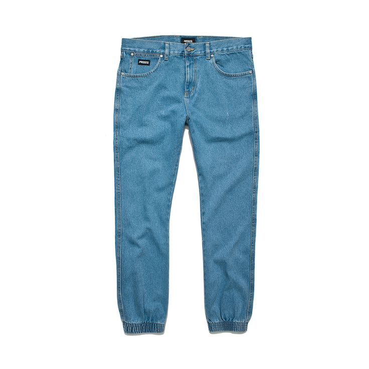 Spodnie Jeansowe REGULAR JOGGER BLUE Spodnie jeansowe skrojone w stylu 'regular'. Ściągacze w nogawkach. Metka Prosto na kieszonce.