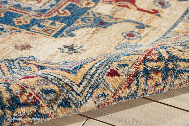 NEW: Cordoba Gates Beige Rug (texture close up), a traditional style synthetic rug with an intricate multi-coloured bordered design over a beige background (machine-woven, polypropylene (75%)/polyester (25%), 5 sizes)  http://www.therugswarehouse.co.uk/traditional-rugs/cordoba-rugs/cordoba-gates-beige-rug.html