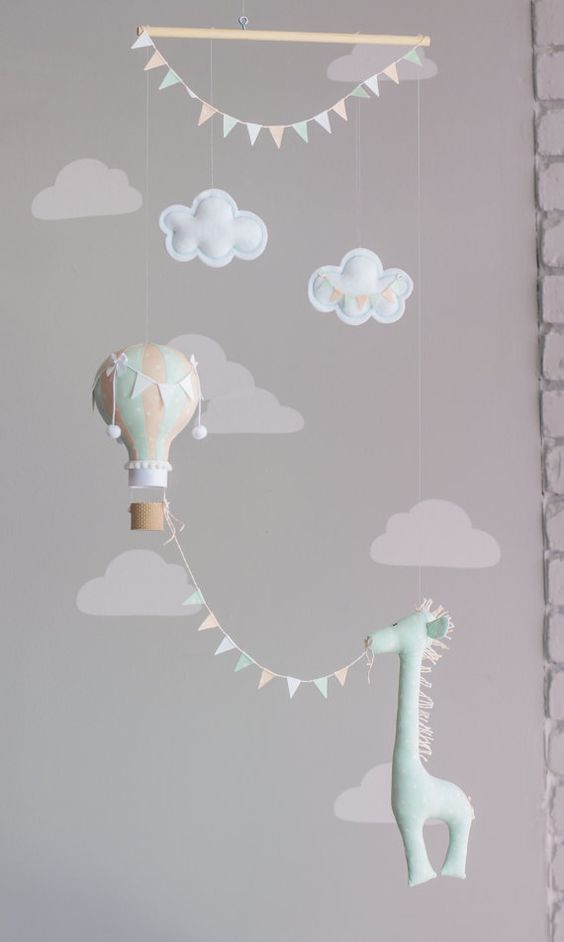 Hot Air Balloon, Giraffe, Nursery Mobile, Mint and Blush Pink-Peach, Baby Mobile, Nursery Decor, travel theme nursery, i68