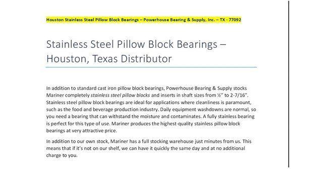Houston Stainless Pillow Block Bearings - Houston-Stainless-Steel-Pillow-Block-Bearings-TX.pdf