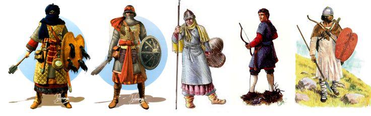 Spain / Battles, Knights.. - Invasión Almohade 1.147-1.230 - Guerreros almohades: de izquierda a derecha: guerrero de élite bereber de la tribu hintata con cota de malla y acolchado; guerrero de élite almohade con cota de malla y armadura de escamas; centro guerrero almohade con cota de malla larga; arquero andalusí con cota de malla corta; a la derecha guerrero guarda fronteras andalusí.