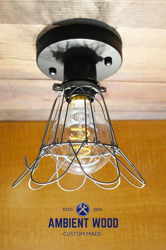 Flower Cage ceiling light Industrial Aluminium light, Antique Edison Bulb, Lamp, Rustic Lighting
