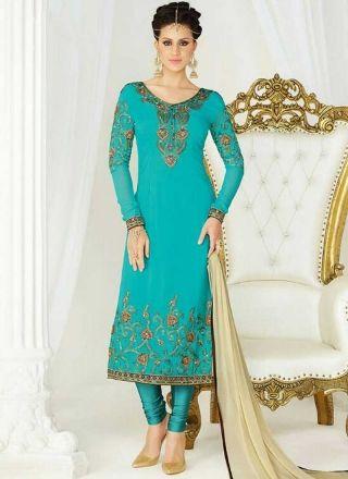 Sky Blue Embroidery Work Georgette Chiffon Designer Fancy Churidar Suit http://www.angelnx.com/Salwar-Kameez/Churidar-Suits