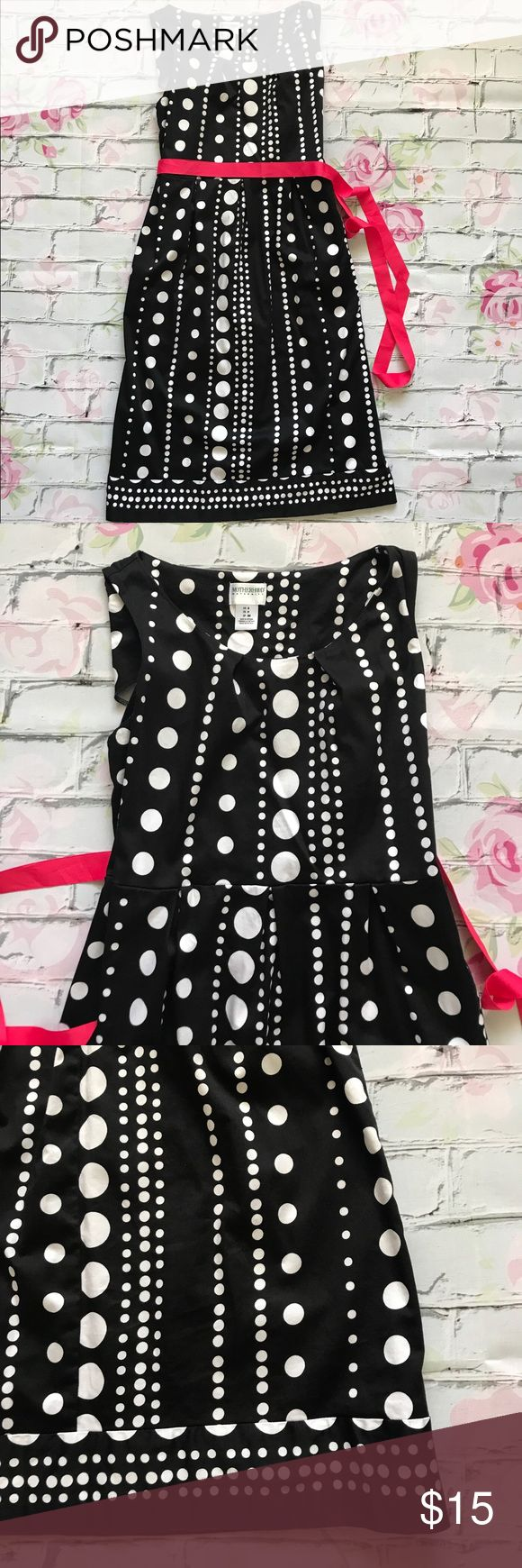 Motherhood Maternity Black White Polka Dot Dress Motherhood Maternity Black White Polka Dot  Elastic Waist Hot Pink Tie Dress.  Stains on the ribbon and fine lines on the back of the dress.  Overall still in good condition. Measurements Approximate: Armpit to Armpit: 15.5', Shoulder: 12', Waist: 13.5', Hip: 17', Length: 34'. Motherhood Maternity Dresses