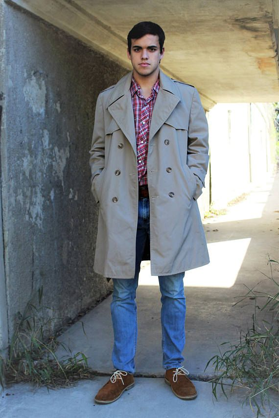 Every well-dressed man needs a trench coat.  Trench Coat  Vintage Pigeon Voyageur Medium Mens Outerwear