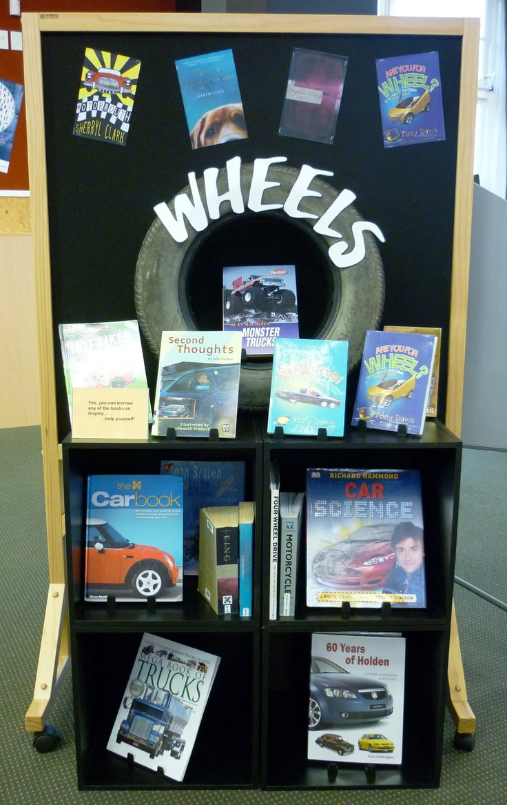 Wheels-cars, trucks, bikes. Fiction/nonfiction Library Displays