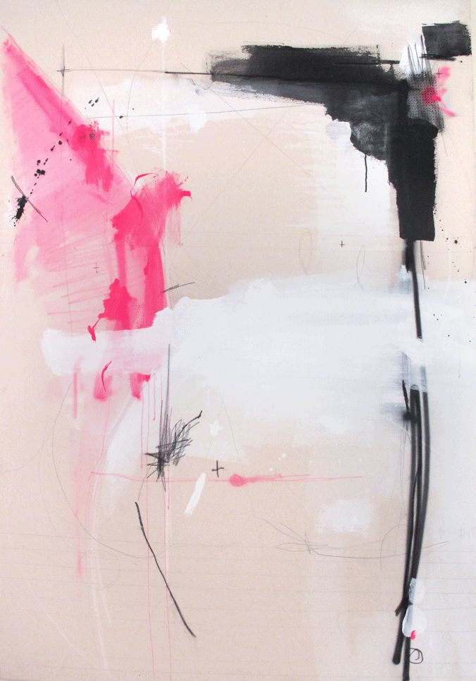 Fede Saenz- All the art is pink, black, and white. This artist