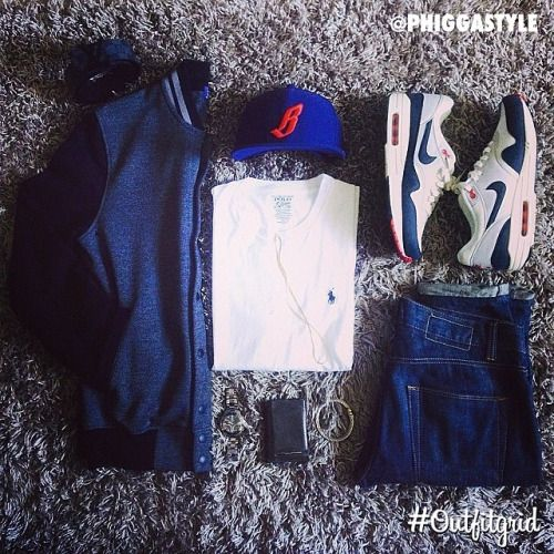 Today's top #outfitgrid is by @phiggastyle. #Topman #Jacket & #Jeans, #BBC #Cap, #RalphLauren #Tee, #Nike #AirMax, #flatlay #flatlayapp #flatlays @flatlayapp www.theflatlay.com