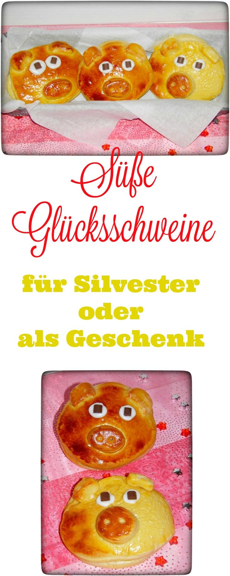 Glücksschweine für Silvester sind ein tolles Mitbringsel und Gast - Geschenk. Diese sind soo lecker und man kann diese herzhaft oder süß füllen. Ich liebe diese süßen Schweine an Silvester. Auf dem Frühstückstisch sieht das total lieb aus. #silvester #glück #schwein