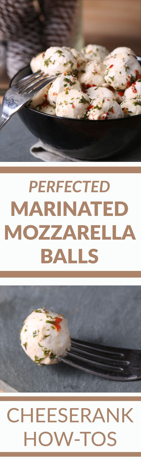 Marinated Mozzarella Balls: Mozzarella on its own is a delicious snack, and those little mozzarella balls are a glorious sight on any party tray or platter. INGREDIENTS1 ½ cups olive oil1 lb Ciliegne (cherry) sized mozzarella balls2 Tbs red pepper flakes1 tsp freshly ground black pepper1 Tbs dried oregano1 Tbs dried parsley2 cloves fresh garlic, diced