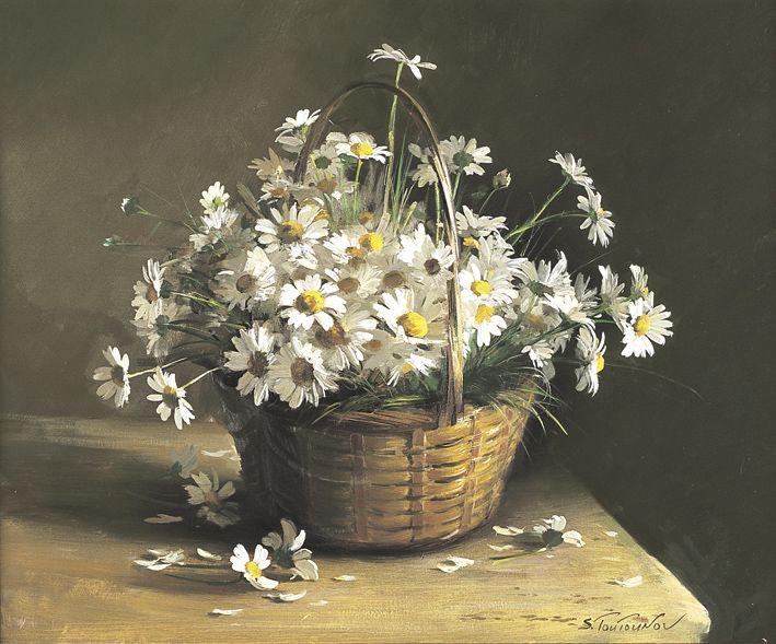 Ромашки в корзине репродукция для интерьера картина букет цветов маслом цветы в живописи натюрморт полевые цветы в вазе садовые цветы ромашки корзина