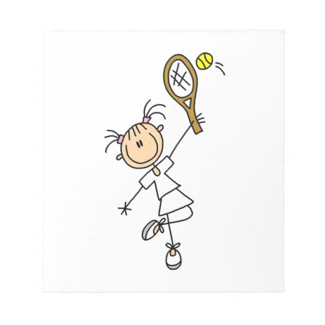 Female Stick Figure Tennis Player Notepad Zazzle Com In 2020 Stick Figures Tennis Players Tennis Gifts