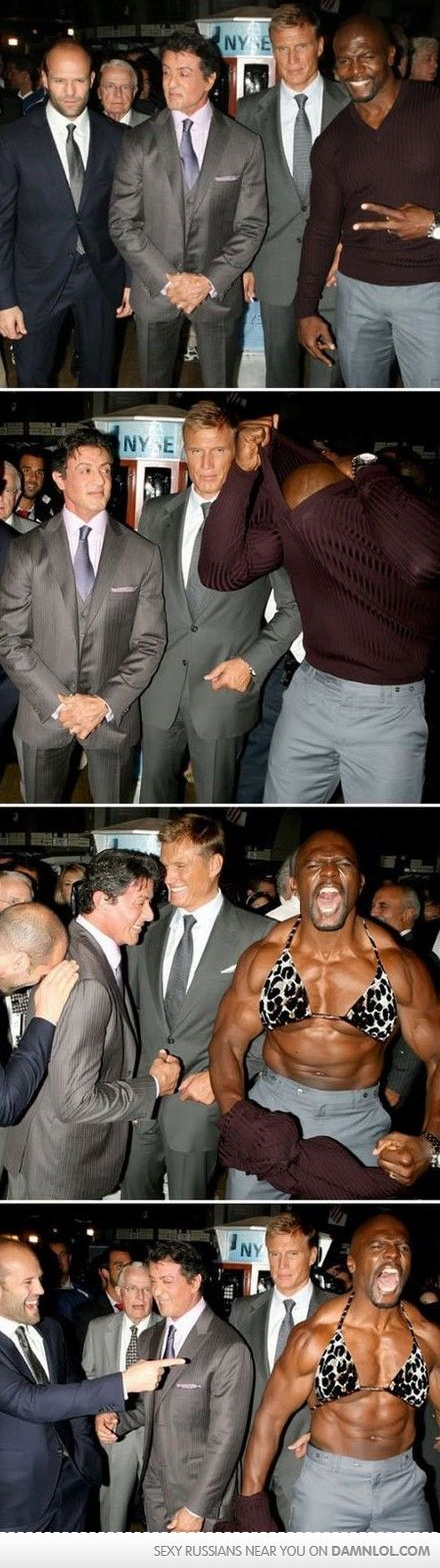 Omg I love Terry Crews! Not sure which is better? Terry's bikini top, or Jason & Sylvester's faces?
