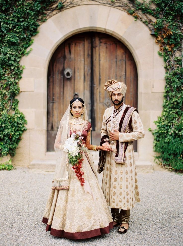 Gold and Maroon Bridal Lehenga | Jill + Niraj | Indian Wedding Blog | Think Shaadi