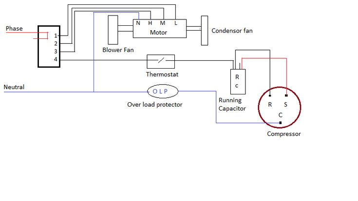 ac wiring diagram of window airconditioner