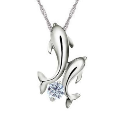Gorgeous Dolphins Pendant and Chain Necklace