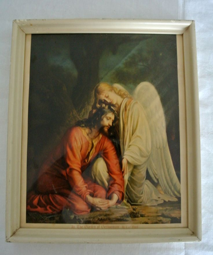 "Vintage Framed Under Glass Lithograph ""In the Garden of Gethsemane by Carl Bloch by LongTallSallys on Etsy"