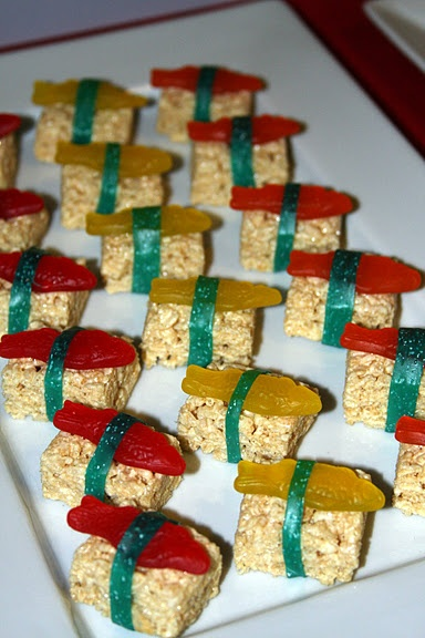 faux sushi! Super cute for a kids party!