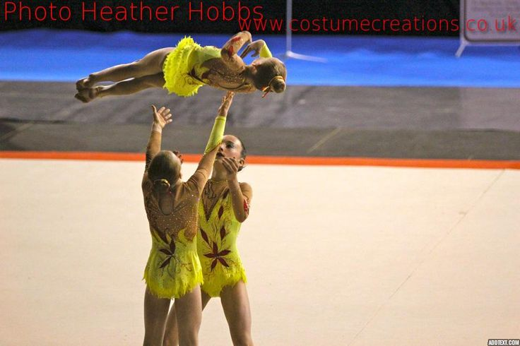 SPORTS ACROBATIC LEOTARDS WITH SKIRTS  yellow/red  with crystals   made for Spelthorne  Sports Acro   Ashford Middlesex