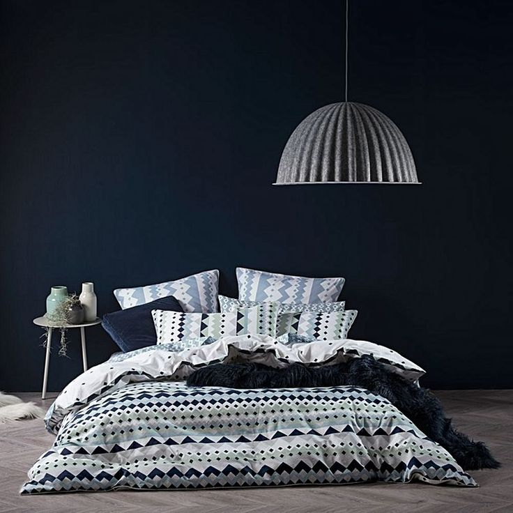 Dramatise your boudoir with the bold geometrics printed on the percale Malena European Pillow Case from Linen House.