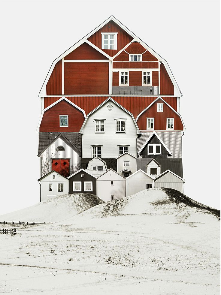 "Large scale architectural collages by Anastasia Savinova. Each collage is meant to reveal ""spirit"" of a particular country or city. Sweden /anastasiasavinova.com"