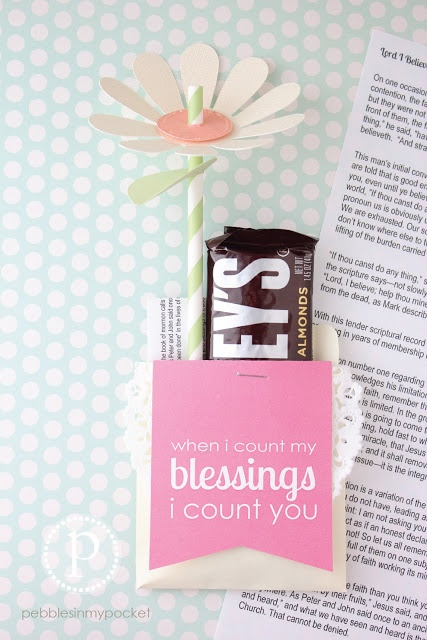 Pebbles In My Pocket May LDS visiting teaching message and treat will delight the sisters you visit each month!