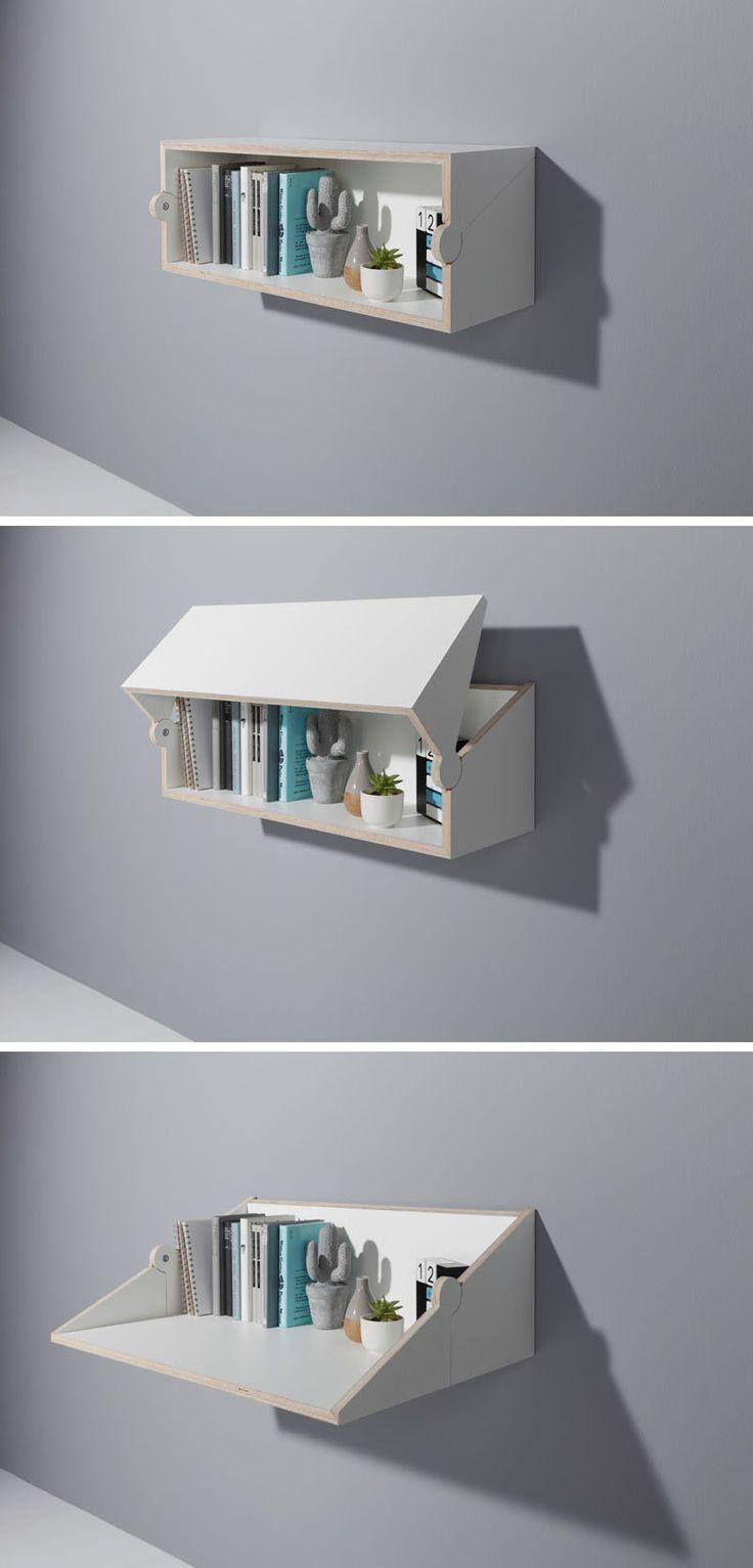 quand l'étagère se transforme en table ou bureau : idée à réfléchir pour les livres de cuisine ou bureau d'appoint...