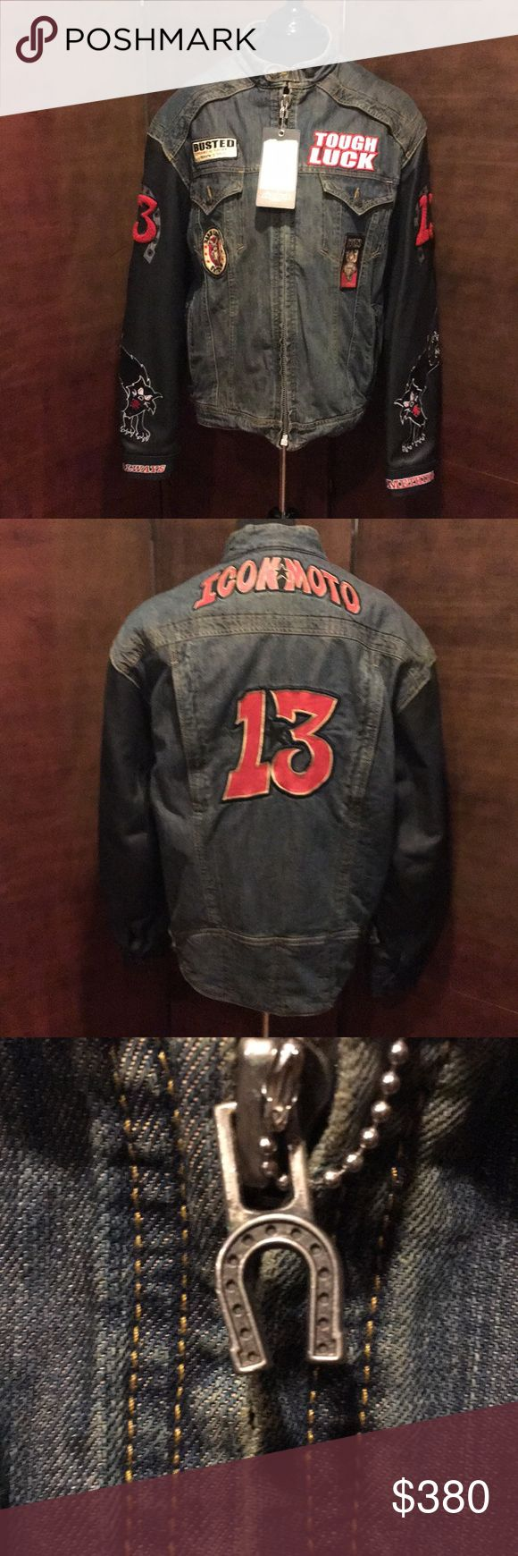 NWT StrongArm Jacket Icon Lucky 13 Limited Edition NWT Strong Arm Jacket Icon Lucky 13 Limited Edition.  Motorcycle Jacket. Patches on front, back and arms. Arms say Always Something. Inside has a best liner that is removable. Quality 14 oz. Denim Chassis, Durable 1.2mm - 1.4mm Leather sleeves, CE approved elbow and shoulder armor, zipper intake and exhaust vents control climate and aramid reinforced shoulders for abrasion resistance. There is a small stain on the right arm on the cat…