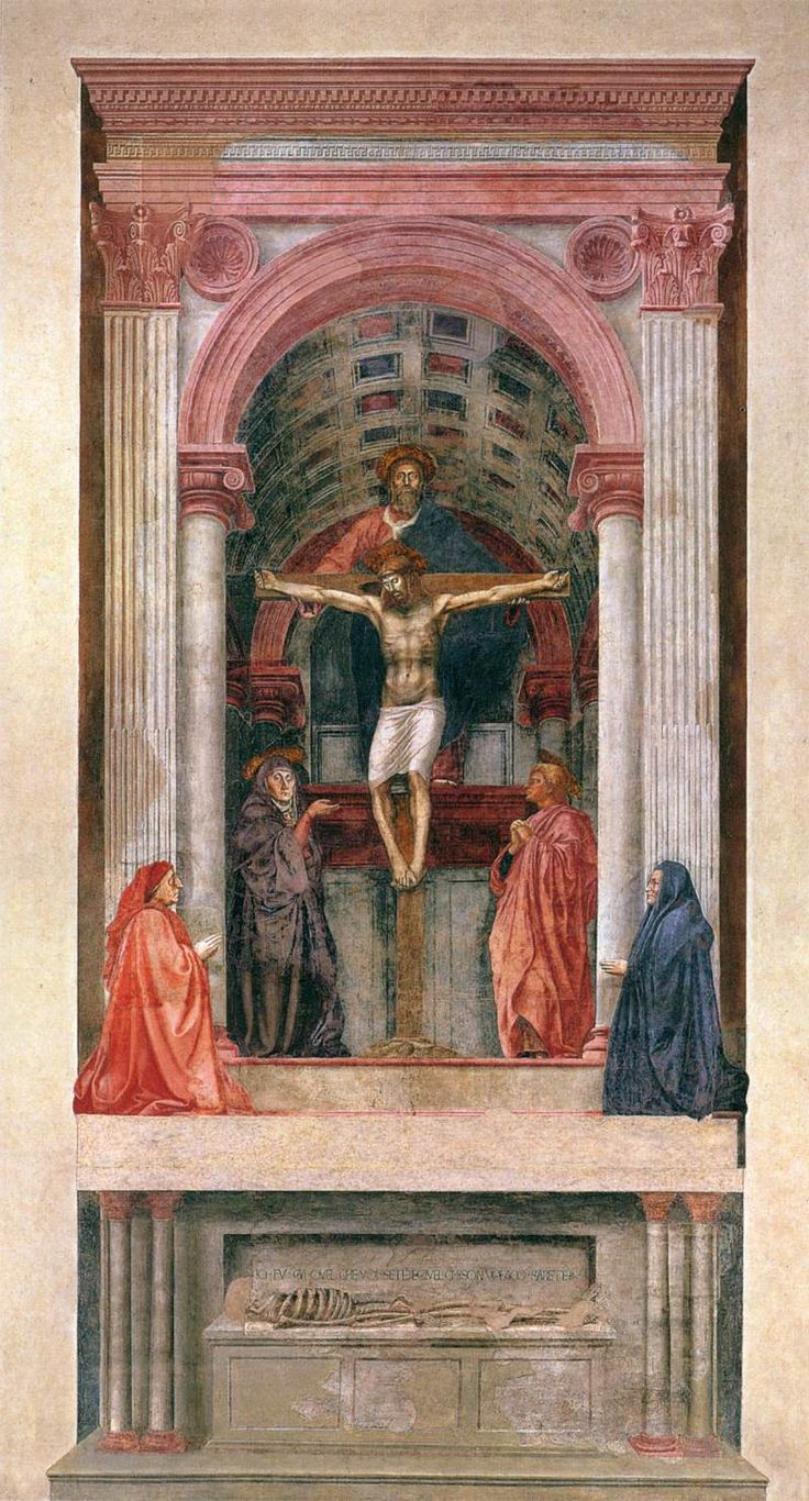 Masaccio - A Santíssima Trindade com a Virgem, S. João e doadores, Igreja de Seanta Maria Novella (Florença)
