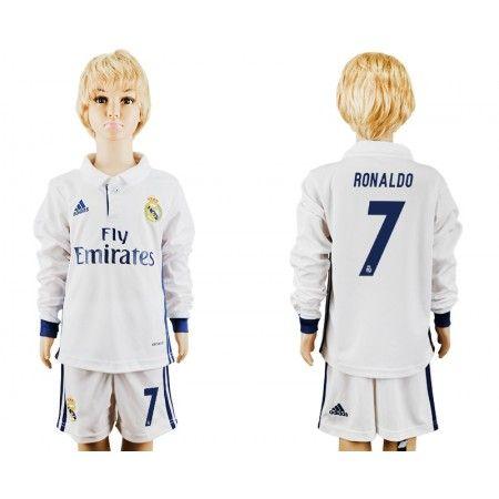 Real Madrid Trøje Børn 16-17 #Ronaldo 7 Hjemmebanetrøje Lange ærmer.222,01KR.shirtshopservice@gmail.com