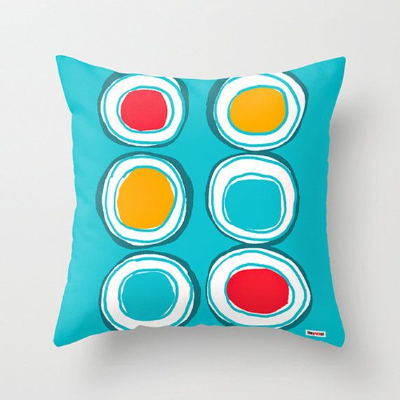 Big Circles Decorative throw pillow cover  Colorful by thegretest, $55.00
