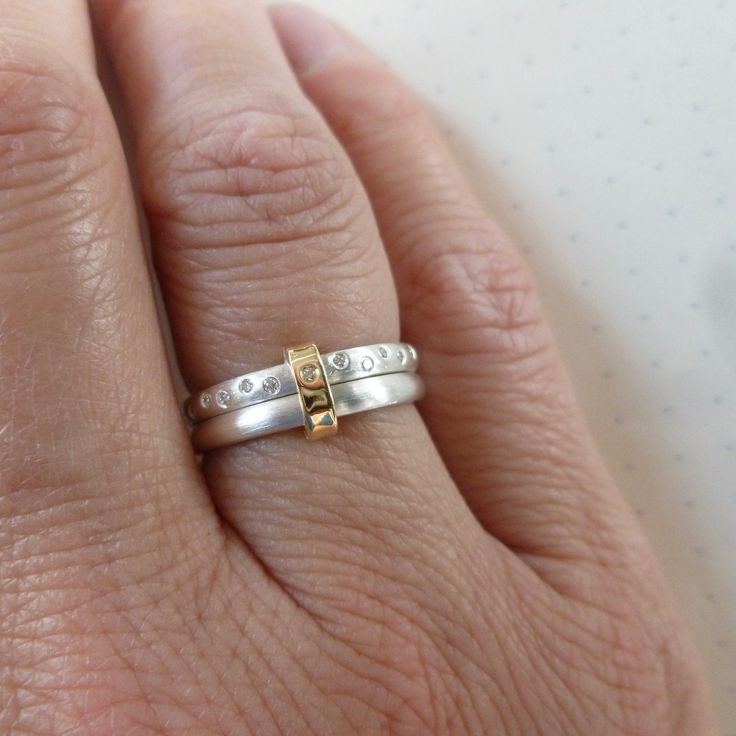 Two Band Silver And Diamond Ring Nrd2n In 2020