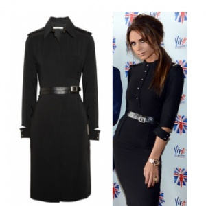 Victoria beckham bodycon military style dress black