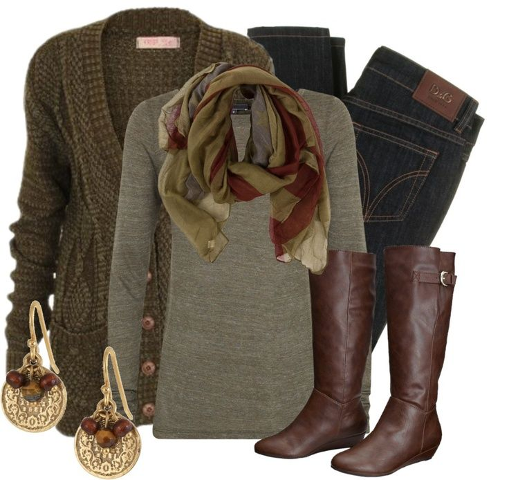 Love the dark muted colors in this outfit. The ...
