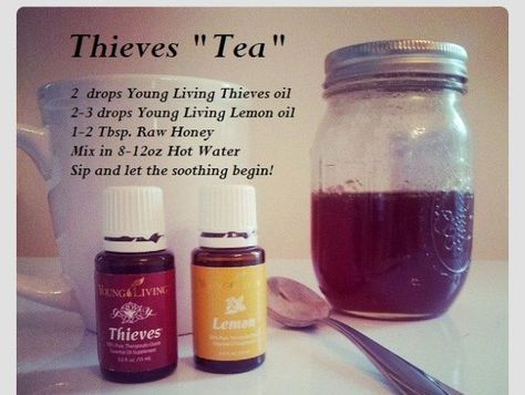 Soothe sore throat, chest and sinus congestion, boost your immune system! 2 drops YL Thieves oil 2-3 drops YL Lemon oil 1-2 Tbsp RAW honey 8-12 oz Hot Water