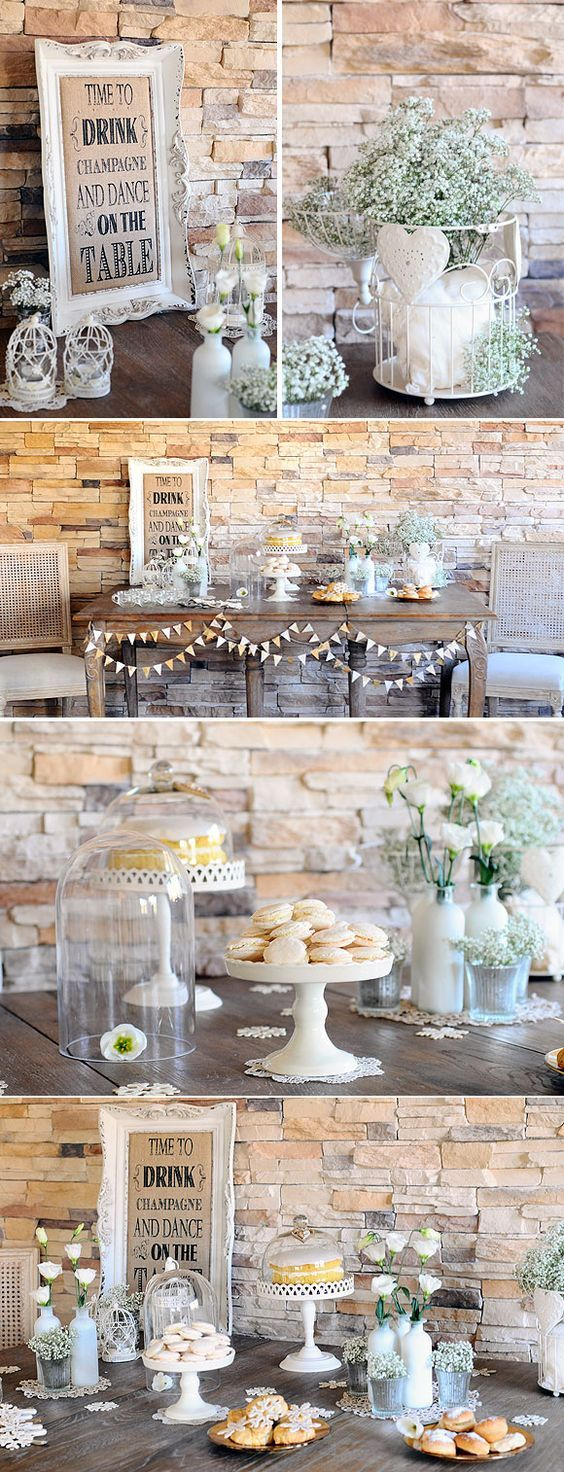 "These soft colors and rustic, home-y touches just say ""wedding"" to me, for some reason."