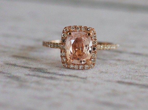 Cushion peach champagne sapphire in 14k rose gold diamond ring.