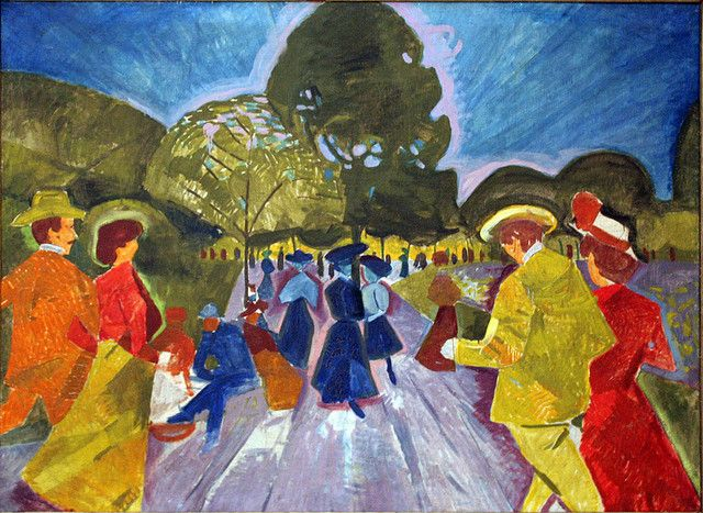 Bohumil Kubišta (Czech 1884– 1918) [Cubism, Expressionism, Osma (The Eight)]Promenade in the Rieger Gardens, 1908. Centre for Modern and Contemporary Art, Veletrzni (Trades Fair) Palace, Prague.