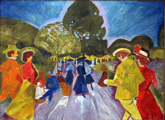 Bohumil Kubišta (Czech 1884– 1918) [Cubism, Expressionism, Osma (The Eight)]Promenade in the Rieger Gardens, 1908. Centre for Modern and Contemporary Art, Veletrzni (Trades Fair) Palace, Prague.