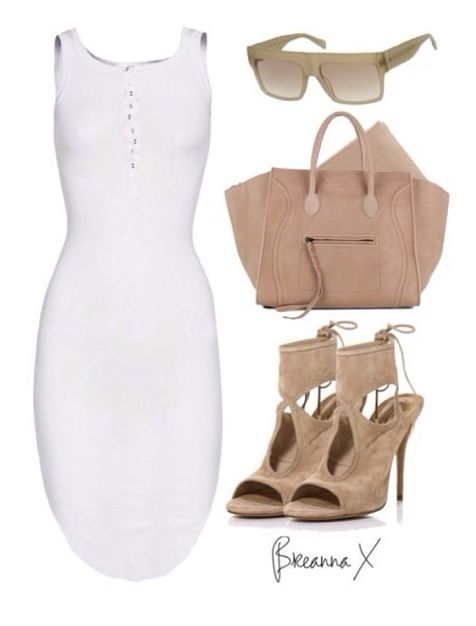 Whites and neutrals will always combine, especially in this go-to-town chic number, Styledbybreanna Keep your heels high in proportion to the hemline, and throw on a chunky, natural stone necklace and you're off!