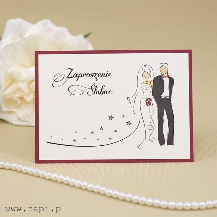 Luksusowe zaproszenie ślubne z Parą Młodą i kryształkami
