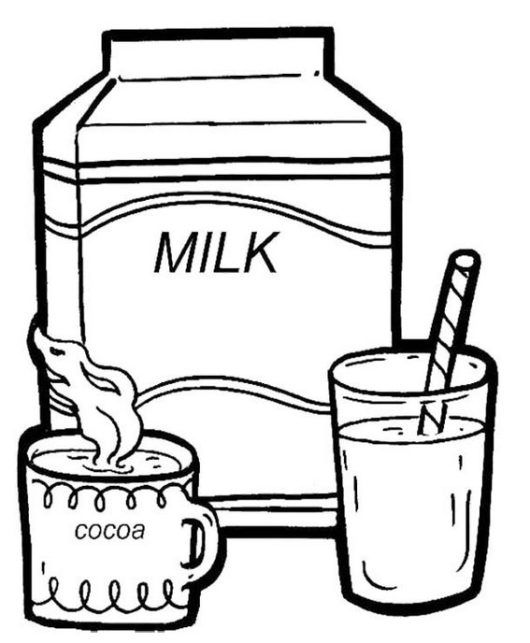 Drink Milk Every Morning Coloring Picture Boyama Sayfaları Food